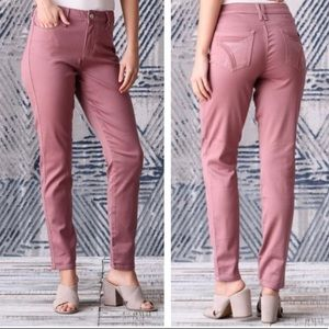 SEVEN7 High Rise Skinny Ankle Jean Mauve Pink 12